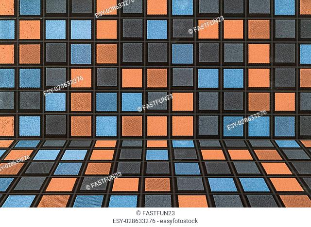 Black blue gray and orange Mosaic Tiles abstract background and texture