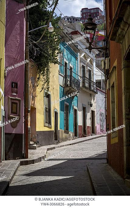 Colourful street in the historic centre, Guanajuato, city in Central Mexico