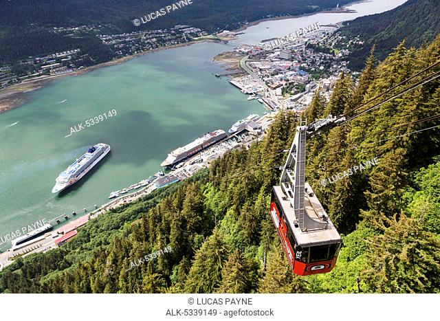 View of the Mount Roberts Tramway above Juneau and cruise ships in Gastineau Channel, Southeast Alaska, Summer
