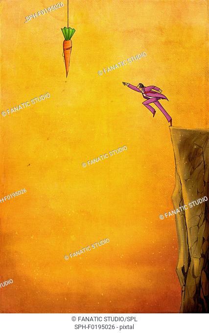 Illustration of businessman reaching for carrot