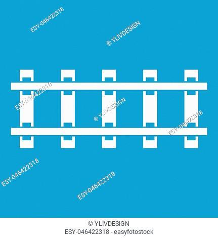 Railway icon white isolated on blue background vector illustration