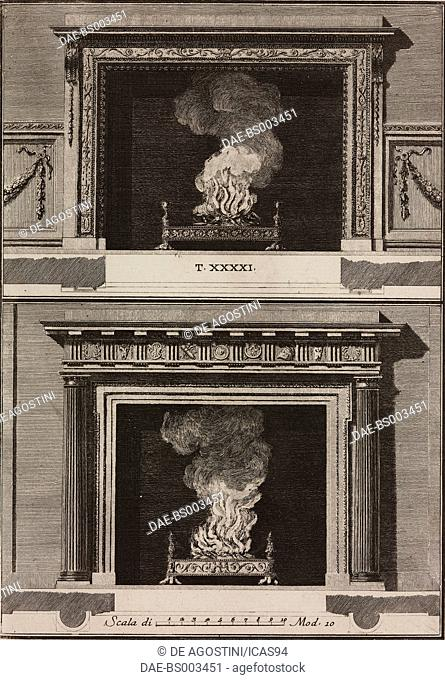 Fireplaces designed by James Byres, engraving from Il Vignola Illustrato, by Giambattista Spampani and Carlo Antonini, printed by Marco Pagliarini, 1770, Rome