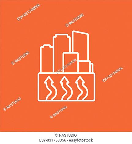 Factory line icon for web, mobile and infographics. Vector white icon isolated on red background