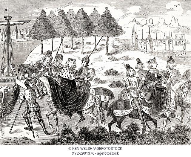 The arrest of the Duke of Gloucester 1397. From The National and Domestic History of England by William Aubrey published London circa 1890