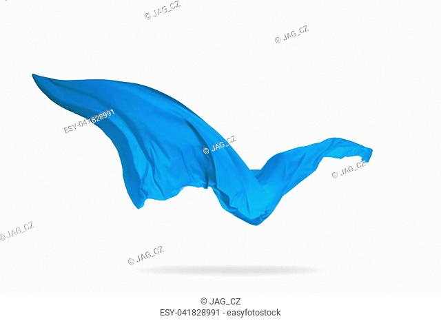 Smooth elegant blue transparent cloth separated on white background. Texture of flying fabric. Very high resolution image
