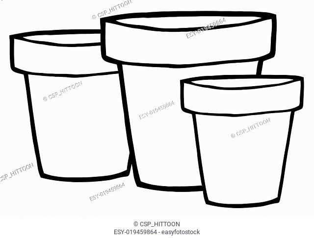 Outlined Terra Cotta Pots