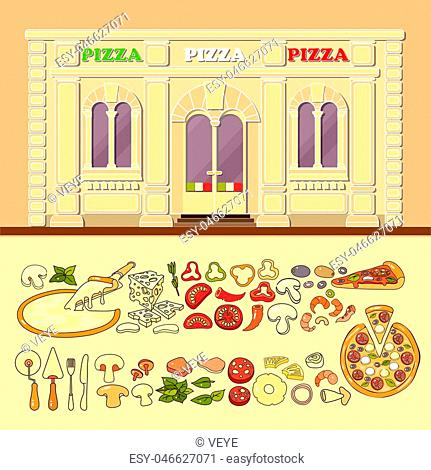 Pizzeria and set of cute various pizza ingredient icons. Flat design vector illustration of small business concept. Stylish pizza boutique
