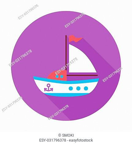 Ship toy icon. Flat vector related icon with long shadow for web and mobile applications. It can be used as - logo, pictogram, icon, infographic element