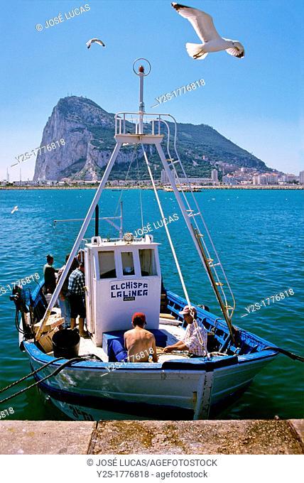 Fishing boat and Rock of Gibraltar, La Linea de la Concepcion, Cadiz-province, Spain