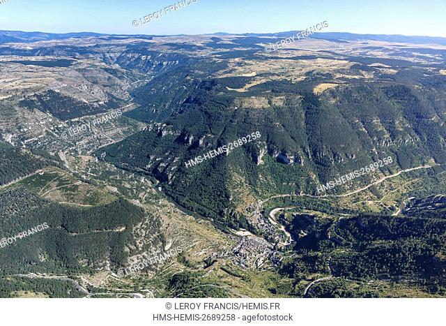France, Lozere, Sainte Enimie, The Causses and the Cevennes Mediterranean agro pastoral cultural landscape, listed as World Heritage by UNESCO