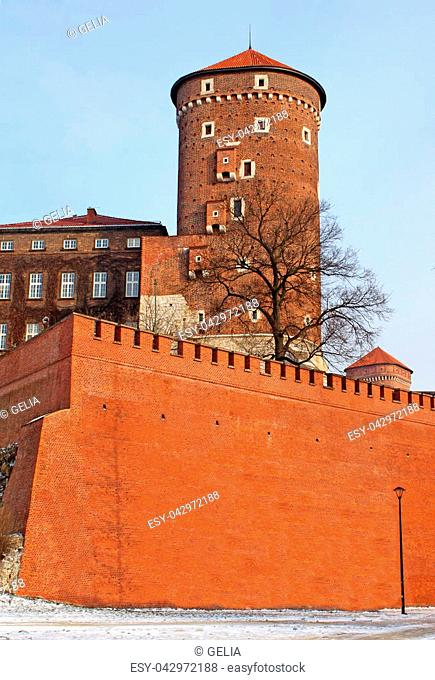 Tower of Wawel Royal Castle, Krakow, Poland
