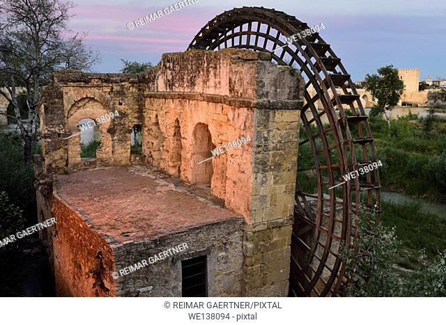 Albolafia Waterwheel on the Guadalquivir river with Roman Bridge and Calahorra Tower Cordoba