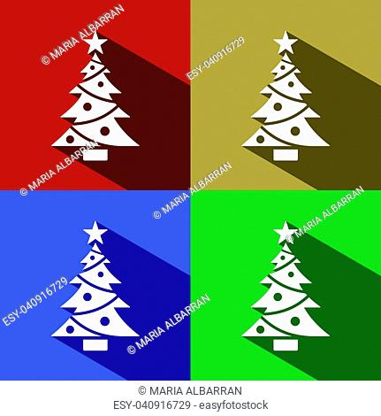 Christmas tree icon with star set with shade. Color vector illustration