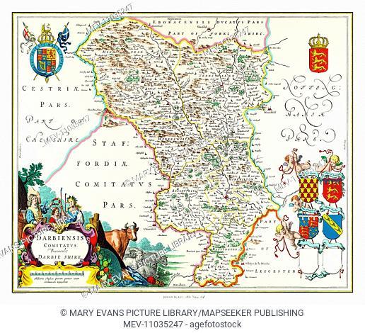 Map of Derbyshire by Johan Blaeu