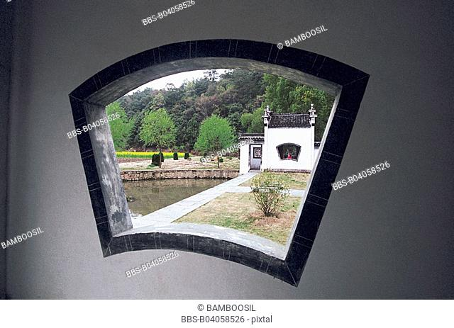 View through a window, Likeng Village, Wuyuan County, Jiangxi Province of People's Republic of China