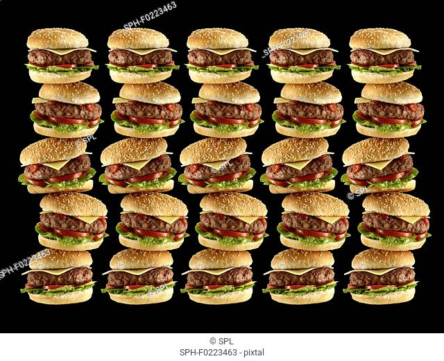 Stacks of hamburgers