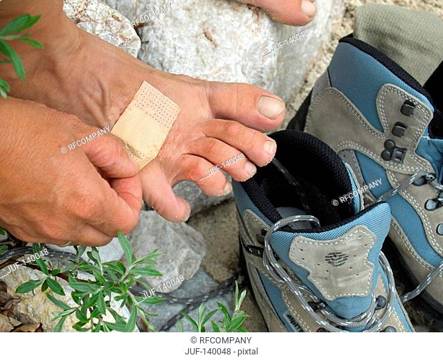 hiker with plaster