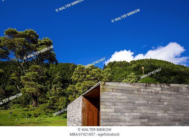 Portugal, Azores, Sao Miguel Island, Furnas, Lago das Furnas lake, Furnas Monitoring and Research Centre, lake monitoring buildings by architects Aires Mateus...