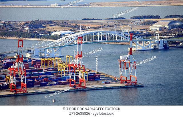 Japan, Osaka, Bay Area, aerial view; cranes, containers,