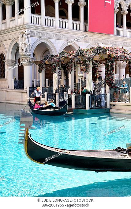 Venetial Replica Gondolas and Gondollier at the Venetian Hotel, Las Vegas, NV, USA