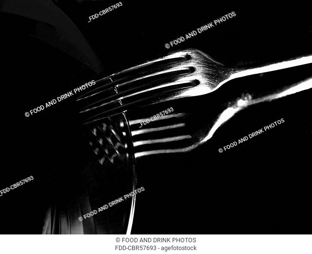 Plate and fork on black