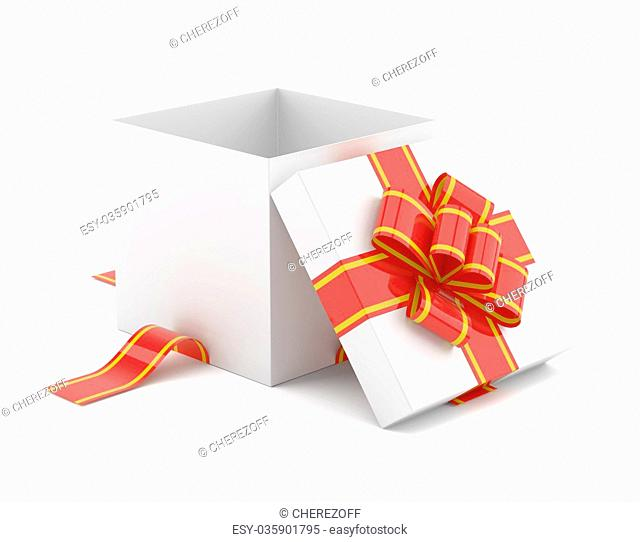 Opened gift box with red bow