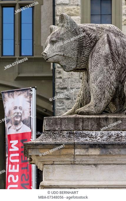 Bear figure in front of Einstein Museum, Old Town, Bern, Canton Bern, Switzerland
