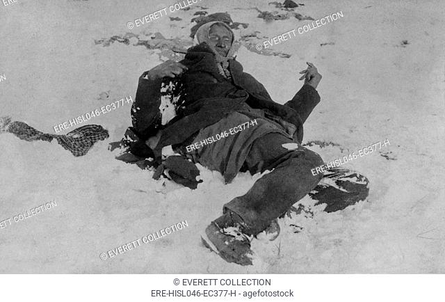 Body of Spotted Elk (aka Big Foot), Chief of the Miniconjou, after the Wounded Knee Massacre. The Lakota Sioux elder, killed on Dec, 29, 1890