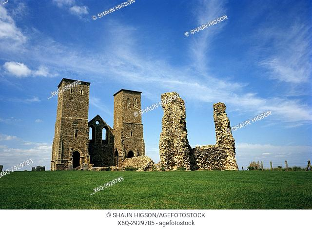 Reculver Roman Fort and towers of Saint Mary's Church in Kent in England in Great Britain in the United Kingdom