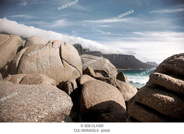 Rock boulders by ocean, Cape Town, South Africa
