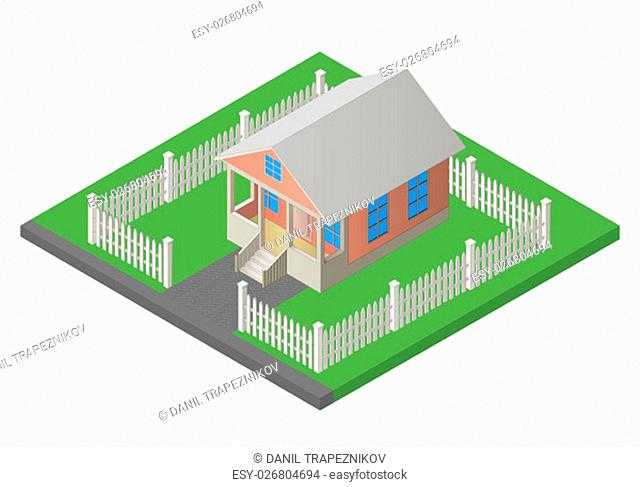 house isometric flat vector 3d illustration isolated on white background