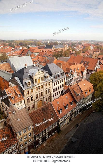 View from the market church of St. Benedikti, Quedlinburg, UNESCO World Heritage Site, Harz area, Saxony-Anhalt, Germany, Europe