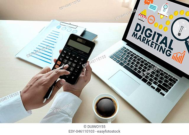 businessman DIGITAL MARKETING new startup project Technology Graphic
