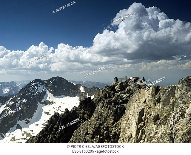 View from Lomnica Peak (Lomnicky Stit). Tatra mountains. Slovakia