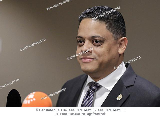 United Nations, New York, USA, July 11, 2018 - Press Encounter with Prime Minister of Curacao Eugene Rhuggenaath before the Security Council Meeting on...