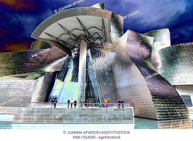 Horizontal image of the Guggenheim Museum Bilbao digitally altered