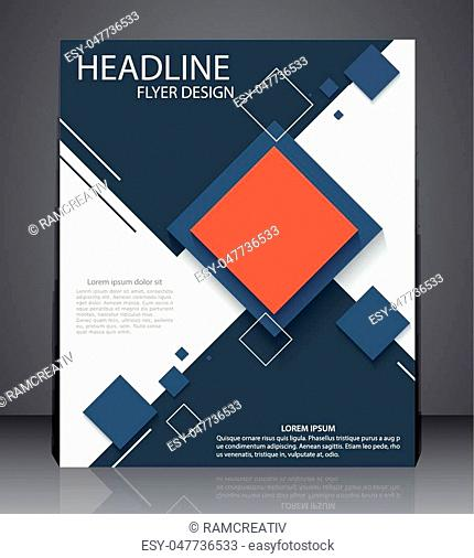 Abstract digital business brochure flyer, geometric design with squares in A4 size, layout cover design in red and blue colors