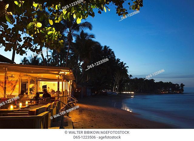 Dominican Republic, Samana Peninsula, Las Terrenas, Playa Las Terrenas beach, beach bar, evening