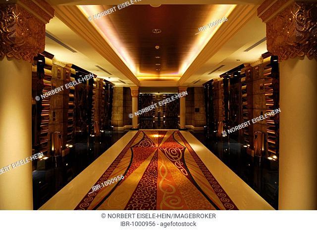 Elevator foyer in Burj al Arab, deluxe hotel, Dubai, United Arab Emirates, UAE, Middle East