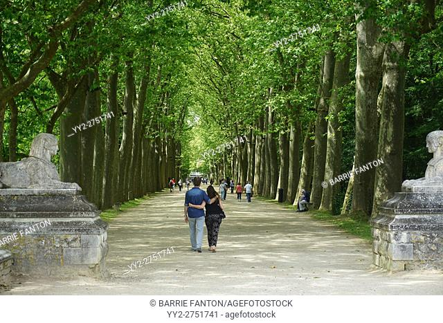 People Walking on Tree-Lined Path, Chenonceau Chateau Grounds, France