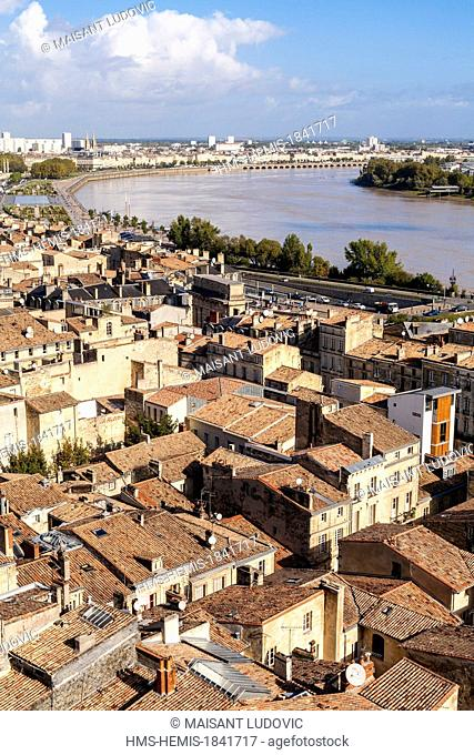 France, Gironde, Bordeaux, area listed as World Heritage by UNESCO, seen from the Spire of Saint Michel's Church on the Old Town