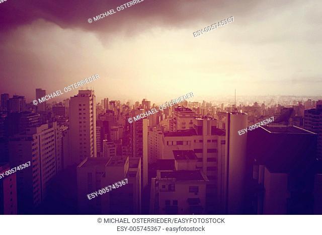 Pollution over Sao Paulo, Brazil, South America. Retro style image