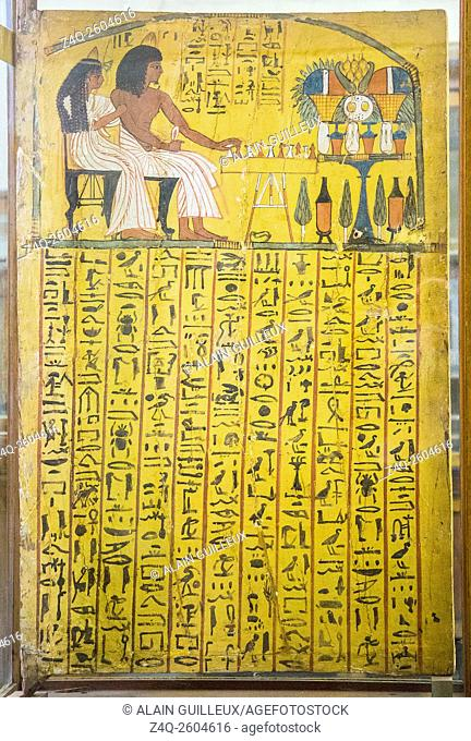 Egypt, Cairo, Egyptian Museum, from the tomb of Sennedjem, Deir el Medina : Door panel (recto), Sennedjem following by his wife is playing the Senet game