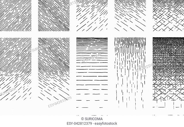 Set of smooth and terraced gradient ink texture. Horizontal Seamless pattern drawn by technical pen hatching