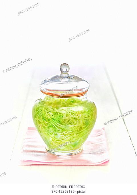 Pickled cabbage in a sweet jar