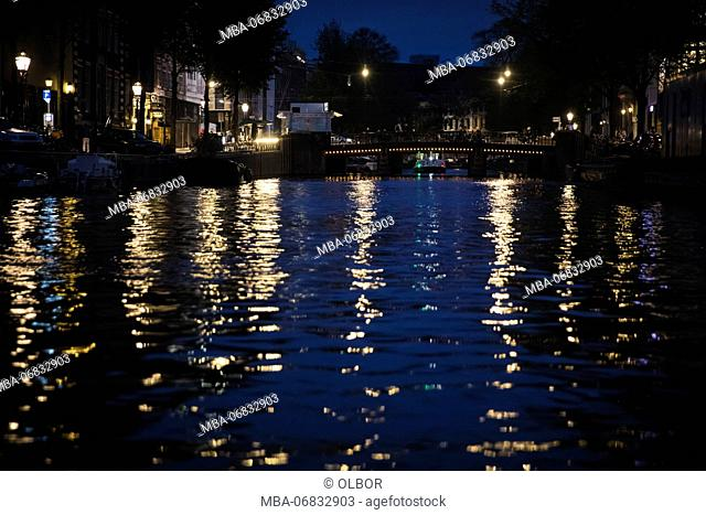 The Netherlands, Holland, Amsterdam, canal, night, lanterns, reflexions