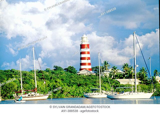 Hope Town lighthouse and harbour, Abaco islands. Bahamas, Caribbean