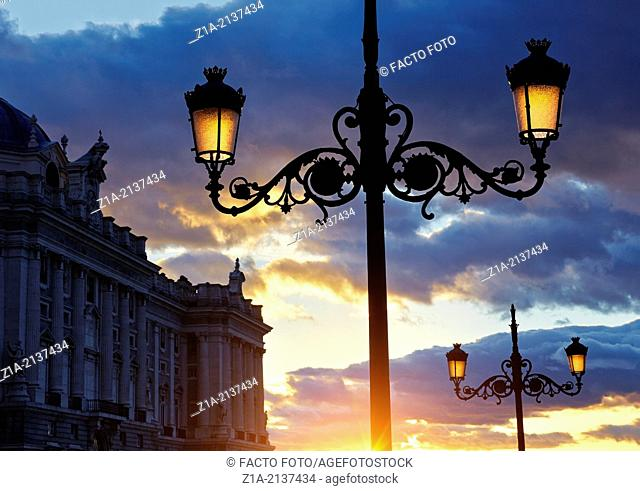 Sunset at the Royal Palace of Madrid. Spain