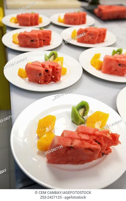 Seasonal mix fruit plates, Taksim, Istanbul, Marmara Region, Turkey, Europe