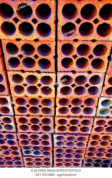 brick wall, Terracotta Ceramics Museum, La Bisbal de l'Emporda, Girona, Catalonia, Spain